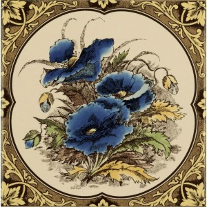 Original Style Artworks Colonial White Blue Poppies Floral Border 15.2x15.2